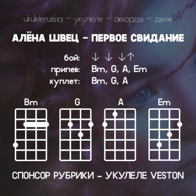 АЛЕНА ШВЕЦ - ПЕРВОЕ СВИДАНИЕ - Аккорды для укулеле